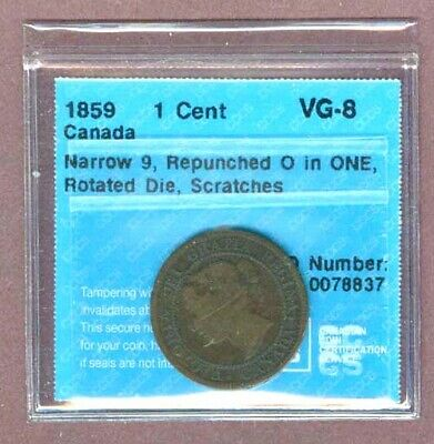 R3595.Canada 1¢ 1859 narrow 9, repunched 0 in one, rotated die, scratches, CCCS