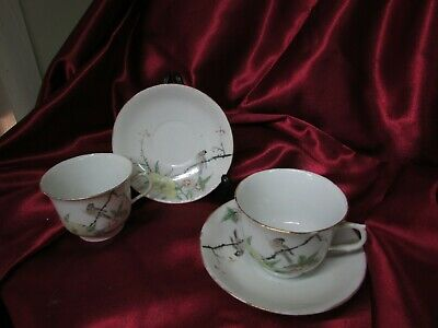 2 Antique Hand Painted Custom Made Cup And Saucers