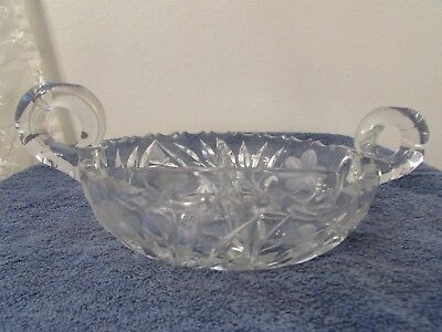 Vintage Cut Glass Divided Candy/Nut Dish - 2 Handle, Etched Flower
