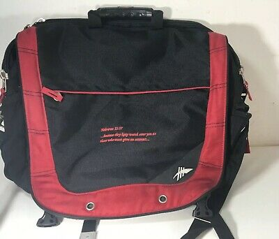 High Sierra Black/Red Computer Briefcase Laptop Bag with Shoulder Strap EUC