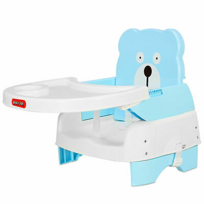 Kids Portable Booster Seat Toddler Chair with Safety Belt Blue Adjustable Height