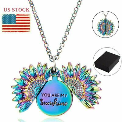 Fashion You are my sunshine Open Locket Sunflower Necklace Xmas Jewelry Gifts