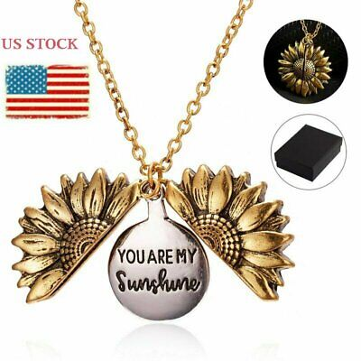 Fashion Gold  You are my sunshine Open Engraved Sunflower Necklace Jewelry Box