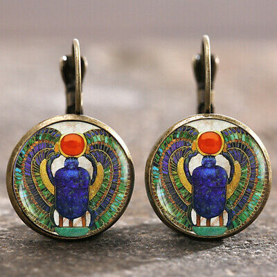 Egyptian Scarab Bronze Trendy Glass cabochon 18 MM Lever Back Earrings Wedding