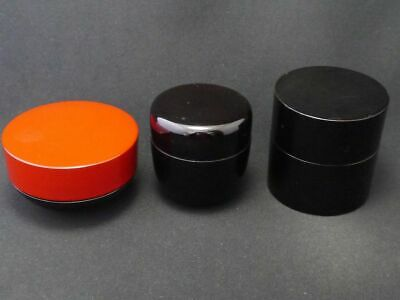 Japanese Traditional Lacquer Wooden Tea caddy Three Styles Natsume 3EA ② (826)