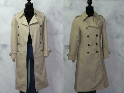 London Fog beige Double Breasted Trench Coat, 2 front pockets, belt with brass h