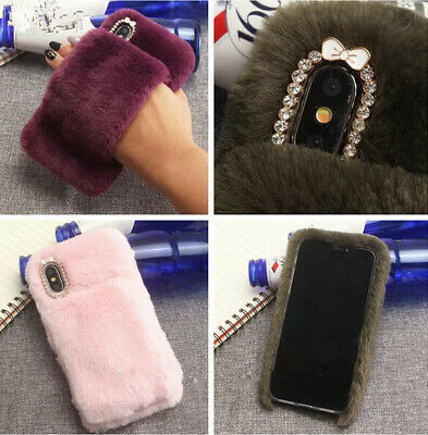 Fashion Rabbit Fur hair Fluffy Plush Warm SOFT TPU Case Cover For Cell Phone NEW