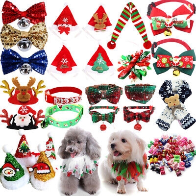 Dog Scarf Collar Santa Headdress Accessories Bell Bow Tie Puppy Cat Xmas Gift