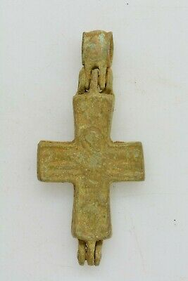Byzantine bronze encolpion cross Virgin Mary & crucified Jesus 6th century AD