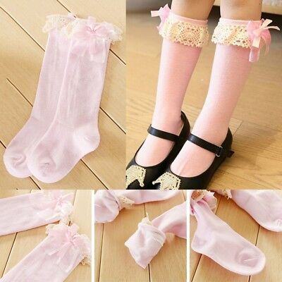 Girl Kids Knee High Cotton School Socks Bow Frilly Lace Bow Stocking QI Shns