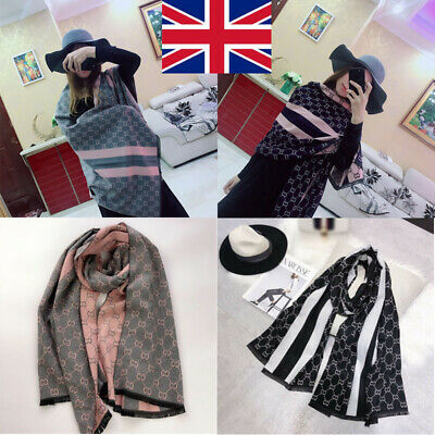 Designer CC Artificial Pashmina Scarf Soft Cashmere Feel Knit Cape Wrap Shawl UK