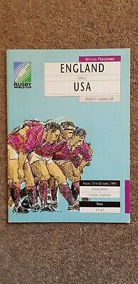 ENGLAND v USA 1991 Rugby Union World Cup Programme