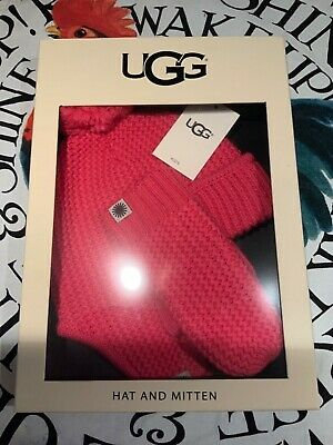Ugg pink child's trapper hat & mitten set New in box fit 2-4yrs READ DISCRIPTION