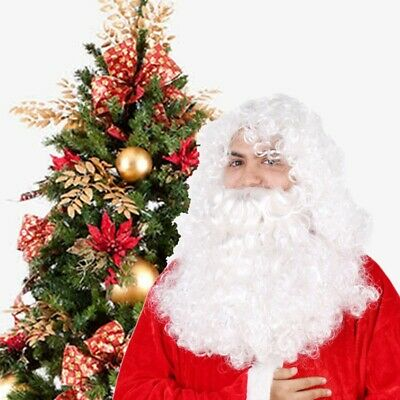 UK Santa Claus Hair Wigs Father Christmas Wigs and Beard Set Adult Bearded Wig