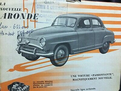 Lot Catalogues 1954 SIMCA ARONDE