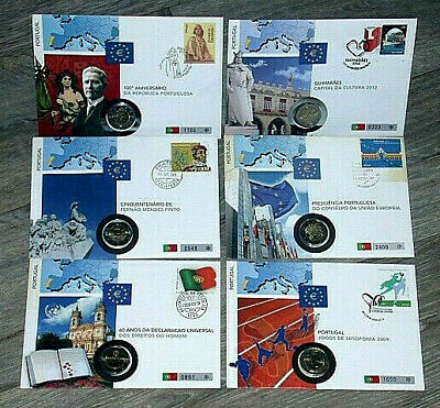 PORTUGAL,  6 NUMISBRIEFE 2007-2012, 6 x 2 € Münze + BRIEFMARKEN