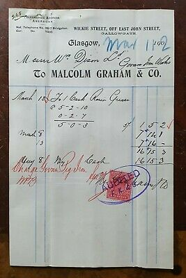 1902 Malcolm Graham & Co., Wilkie Street, Gallowgate, Glasgow Invoice