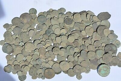 525 Roman Byzantine bronze coins for cleaning 100- 800 AD