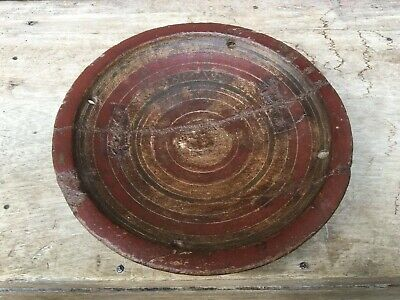 Antique Wooden Hand Carved Lacquer Painted Bowl Plate
