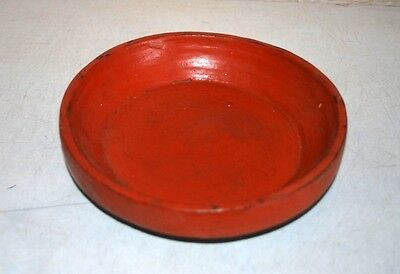 Ancient Antique India Wooden Hand Carved Lacquer Painted Jain Food Bowl Plate