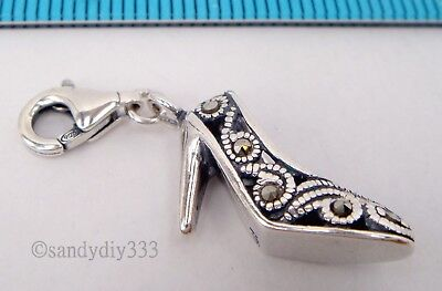 Sterling Silver with Marcasite Round Charm Spacer Fit European Bracelet #94108