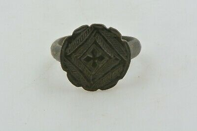 Medieval Knights Templar Seal Bronze Ring CROSS Crusader Times 13th C size 8