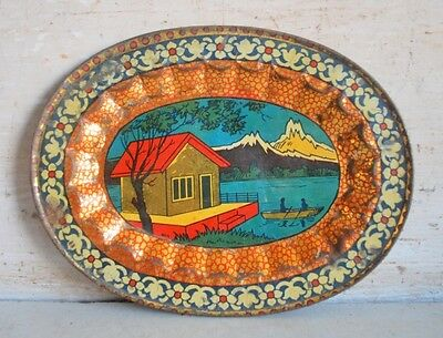 Old Vintage India Hut Litho Print Wall Decorative Tin Serving Tray Plate