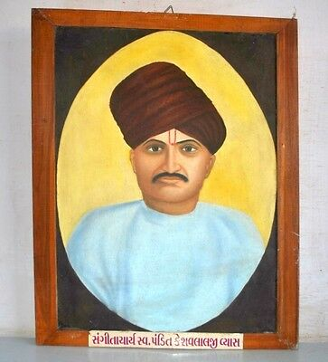 Antique Old Fine Oil Painting on Canvas of Indian Musician Man Portrait