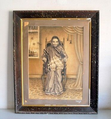 Antique Indian Woman Portrait Painting on Big Black & White Photograph  Frame