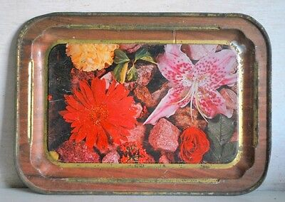 Antique India Old Iron Tin Serving Floral Litho Print Tray Rare Collectible Tray