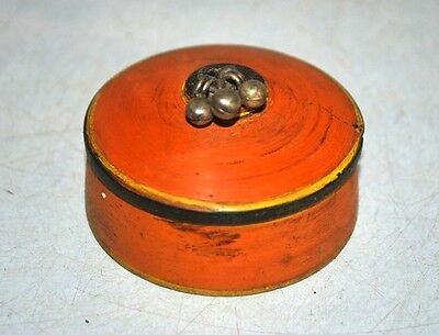 Old Antique Wooden Crafted Orange Colour  Laquer Painted Kum Kum Powder Box
