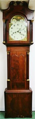 Antique English 19thC 8 Day Flame Mahogany Moonphase Grandfather Longcase Clock