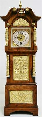 Very Rare Antique 19thc Lenzkirch Oak & Ormolu Bronze Miniature Longcase Clock