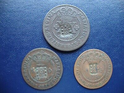 Brazil countermarked copper coins 1778 & 1787 (3)