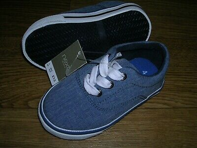 BNWT NEXT Boys Blue Canvas Shoes Trainers UK 4 Eur 20.5 NEW