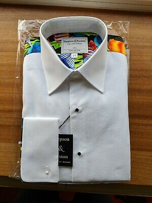 Simpson & Ruxton White Cotton Party Marcella Fish Printed Formal Dress Shirt