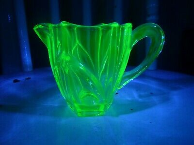 Lovely Little, Art Deco, Uranium Pressed Glass Jug