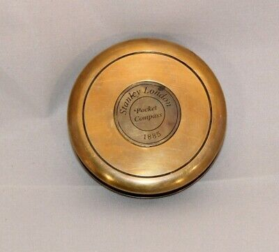 "Antique Brass Stanley London Pocket 3"" Compass Robert Frost Poem Reproduction"