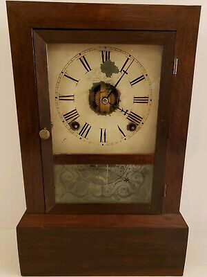 Antique Working 1845 J.C. Brown Early American Cottage Mantel Shelf Clock