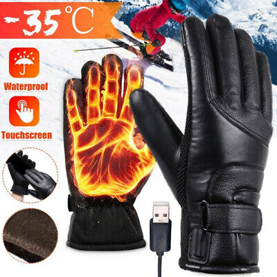 Electric Heated Gloves Hands Warm Waterproof Winter Motorcycle Rechargeable USB