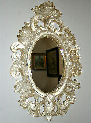 Vintage French Rococo Style Lucite Wall Mirror Acanthus Leaf Plexi Frame 27in
