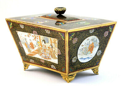 Antique Meiji Japanese Kyoto School Cloisonne & Enamel Censer Casket & Cover Box