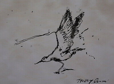 Fine Neo Expressionism unique original ink painting , Listed, Signed, Museum art