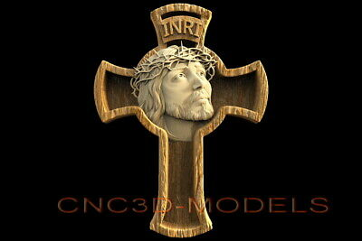 3D STL Model for CNC Router Artcam Aspire Religion Jesus Christ Cross D524