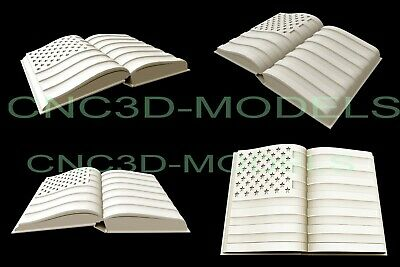 3D STL Model for CNC Router Carving Artcam Aspire USA Flag America Book D604