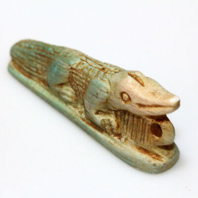 Very Rare Roman Era Egyptian Glazed Alligator Amulet Pendant Ca 300-400 Ad