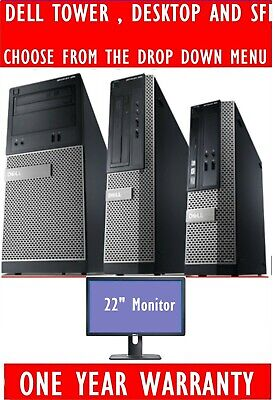 "DELL OPTIPLEX i3 i5 i7 DESKTOP TOWER SFF COMPUTER PC 2TB 8GB 22"" WIDESCREEN TFT"