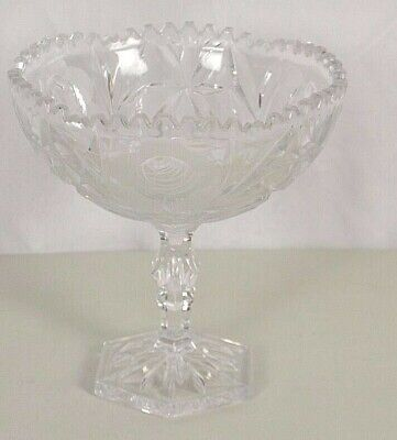 Brilliant Cut Vtg Antique Compote Centerpiece Crystal Rose Etched Star Sawtooth