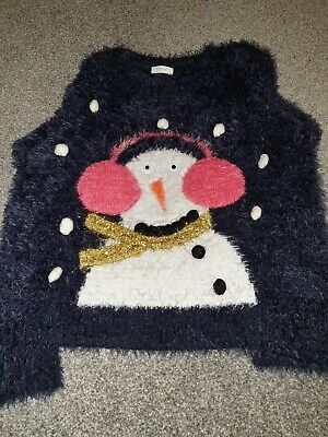 Next Girls Age 7 : Christmas Jumper : Blue with Snowman : Great Condition!