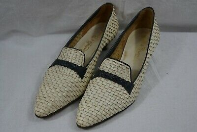 VINTAGE 1980s RUSSELL & BROMLEY white leather basketweave court shoes size 6